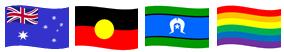 4 Flags - Australia National Flag, Australian Aboriginal Flag, Torres Strait Islander Flag, Rainbow Flag